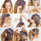 Braided updo tutorial for a curly hair — Stock Photo