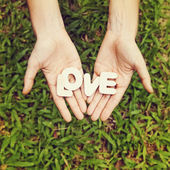 Word love in two hands — Stock Photo