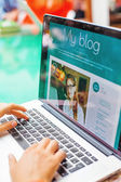 Laptop screen with blog — Stock Photo