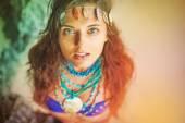 Hippie girl wearing handmade jewelery — Stock Photo