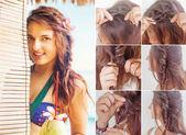 One side fishtail braid tutorial — Stock Photo