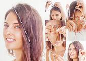 Colorful braid tutorial — Stock Photo