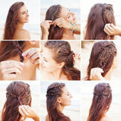 Greek style beach hairdo  tutorial — Stock Photo