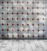 Grunge grey room with mosaic wall tiles and old floorboard — Stock Photo