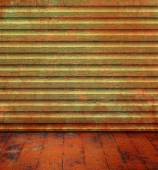 Grunge room with wood background texture and old floorboard — Stock Photo