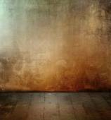 Dark grunge room with colored concrete wall texture and old floor — Stock Photo