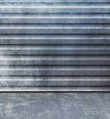 Grunge room with blue gray corrugated steel wall and old floorboard - abstract industry background with container texture — Stock Photo