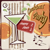 Retro party background with cocktail glass - Happy Hour drink — Wektor stockowy