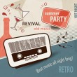 50s retro background - music poster with old radio - party invitation — Stock Vector #73633775