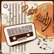 Retro party background with old radio - 50s 70s style — Stock Vector #73633795
