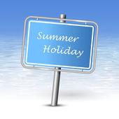 Sommerurlaub mit Strand Hintergrund zu unterzeichnen — Stockvektor