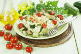 Zucchini baked with chicken, cherry tomatoes and herbs  — Stock fotografie