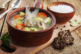 Homemade soup of river fish in the bowl — Stock Photo
