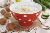 Tarator, bulgarian sour milk soup — Stock Photo