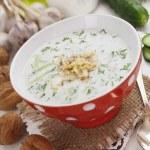 Tarator, bulgarian sour milk soup — Stock Photo #70177471
