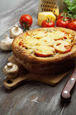 Pie with mushrooms and tomatoes — Stock Photo
