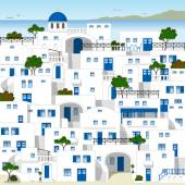 White houses in Greece — Stock Vector
