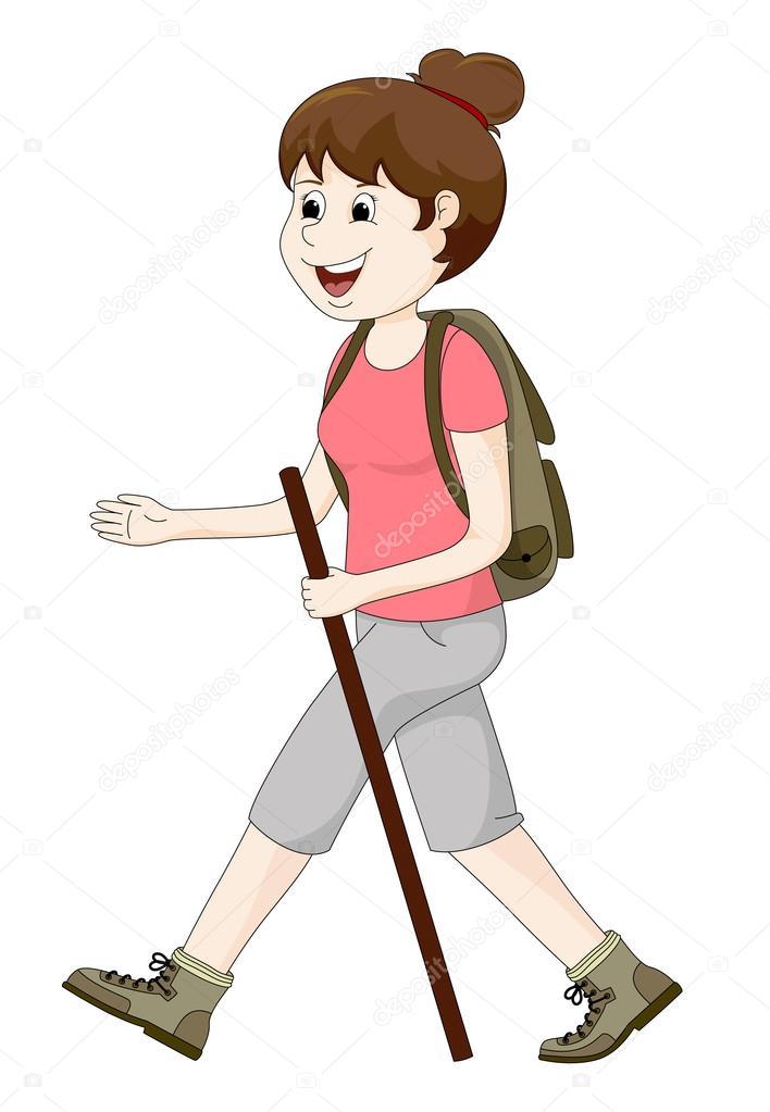 年轻女子徒步旅行 — 图库矢量图像08