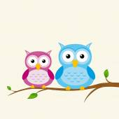 Two owls on a branch — Stock Vector
