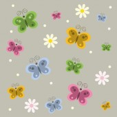 Background with flowers and butterflys — Stock Vector