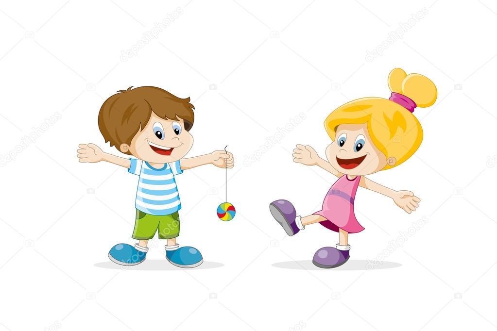 Feliz Personas Exitosas En Caricaturas: Caricatura De Dos Niños Felices Jugando