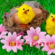 Happy Easter Card Nest Yellow Chick — Stockfoto #64844781