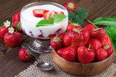 Strawberry Dessert Vintage Still Life — Stock Photo