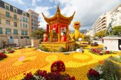 "MENTON, FRANCE - FEBRUARY 20: Lemon Festival (Fete du Citron) on the French Riviera.The theme for 2015 was ""Tribulations of a lemon in China"". Menton, France - Feb 20, 2015 — Stock Photo"