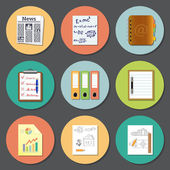 Paper and documents flat icons — Stock Vector