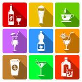 Beverage flat design icons — Stock Vector
