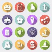Halloween flat icons — Stock Vector