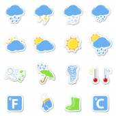 Weather icons set as labels — Stockvector