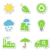 Ecology and recycle stickers — Vector de stock