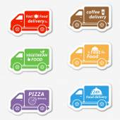 Fast food delivery cars — Stock Vector