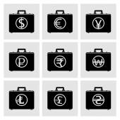Briefcase icons with currency symbols — Stock Vector