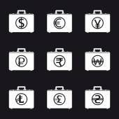 Money bags with currency symbols — Stock Vector