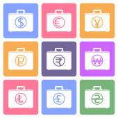 Briefcase flat icons with currency symbols — Stock Vector
