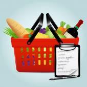 Cesta de la compra con alimentos — Vector de stock