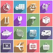 Flat icons set shipping and delivery — Stockvector