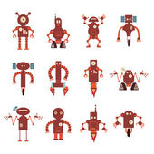 Collection of red robot icons — Stock Vector