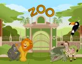 Zoo gate with african animals 2 — Stock Vector