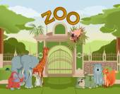 Zoo gate with animals 3 — Stock Vector