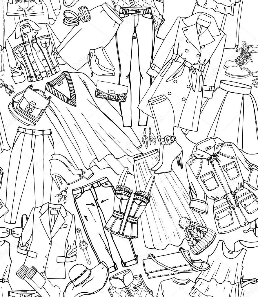 手は、服、靴、バッグ、女性のファッション アクセサリーのシームレスなパターン ベクトルを描画します。印刷、web、ファブリックに使用できます。