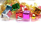 Christmas background with the gift boxes decoration — Foto Stock