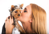 Woman kisses her dog — Foto Stock