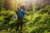 Hiker in Italian Dolomites — Stock Photo