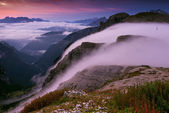 Mountains in early morning hazy — Stock Photo