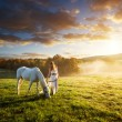 Sensual woman with white horse — Stock Photo #57368645