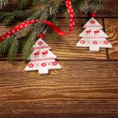 Christmas decorations on wood background — Stock fotografie