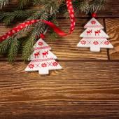 Christmas decorations on wood background — Photo